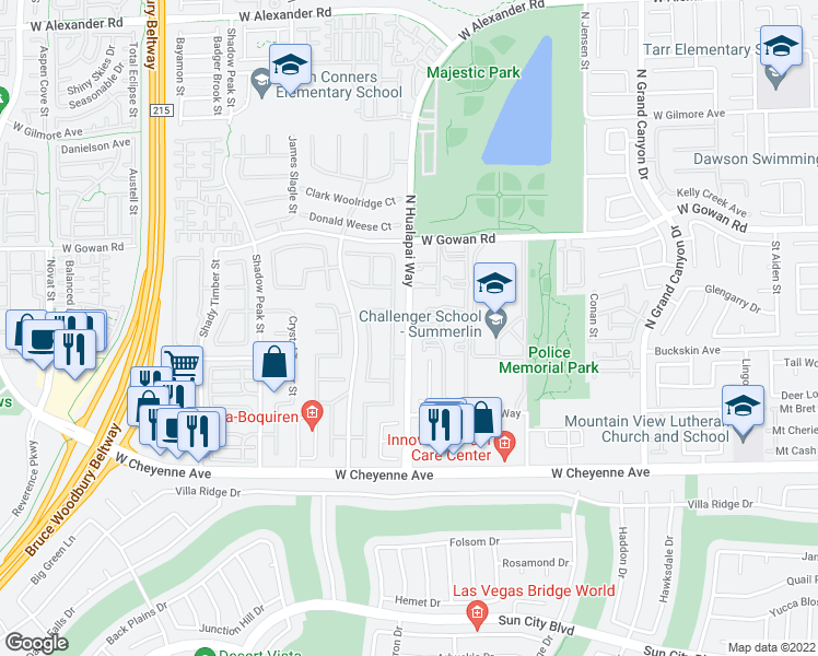 map of restaurants, bars, coffee shops, grocery stores, and more near 3450 North Hualapai Way in Las Vegas