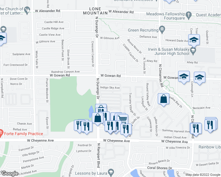 map of restaurants, bars, coffee shops, grocery stores, and more near 8437 Indigo Sky Avenue in Las Vegas