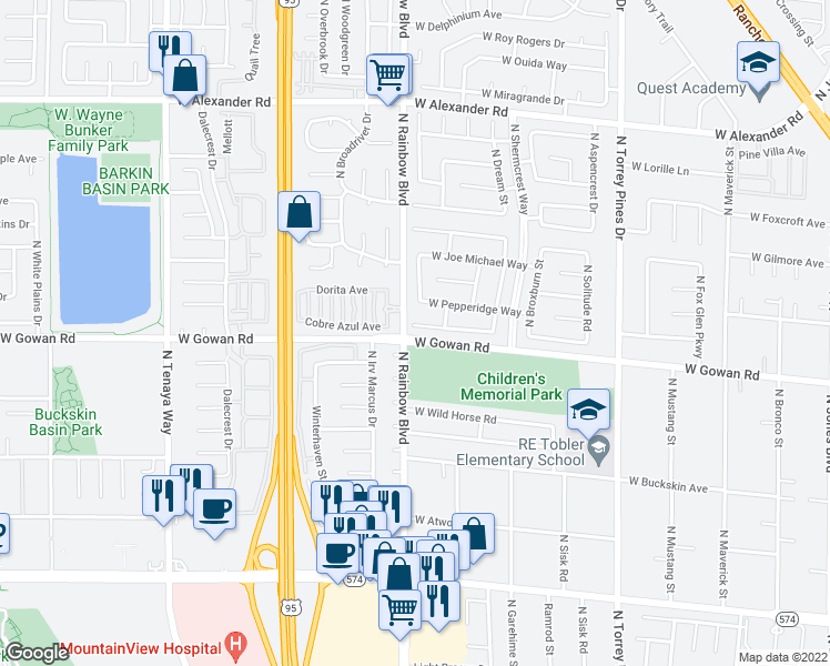 map of restaurants, bars, coffee shops, grocery stores, and more near 6653 Chardonay Way in Las Vegas