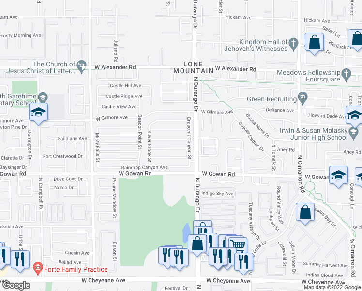 map of restaurants, bars, coffee shops, grocery stores, and more near 8512 Copper Knoll Avenue in Las Vegas