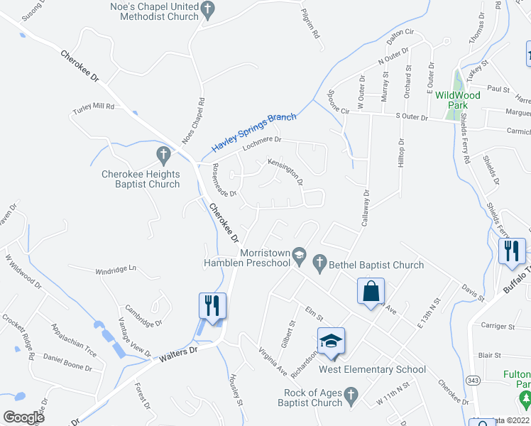 map of restaurants, bars, coffee shops, grocery stores, and more near 410 Lochmere Greene Drive in Morristown