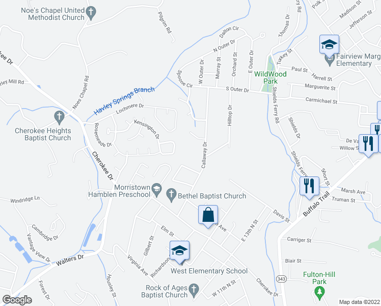map of restaurants, bars, coffee shops, grocery stores, and more near 421 Callaway Drive in Morristown