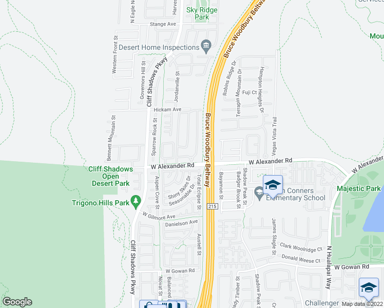 map of restaurants, bars, coffee shops, grocery stores, and more near 10550 West Alexander Road in Las Vegas