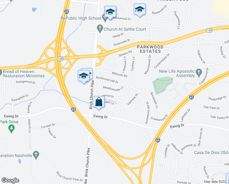 map of restaurants, bars, coffee shops, grocery stores, and more near 3125 Moorewood Drive in Nashville
