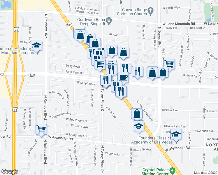 map of restaurants, bars, coffee shops, grocery stores, and more near 4343 North Rancho Drive in Las Vegas