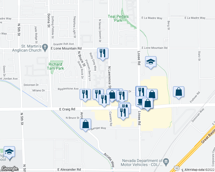 map of restaurants, bars, coffee shops, grocery stores, and more near 4429 Lawrence Street in North Las Vegas