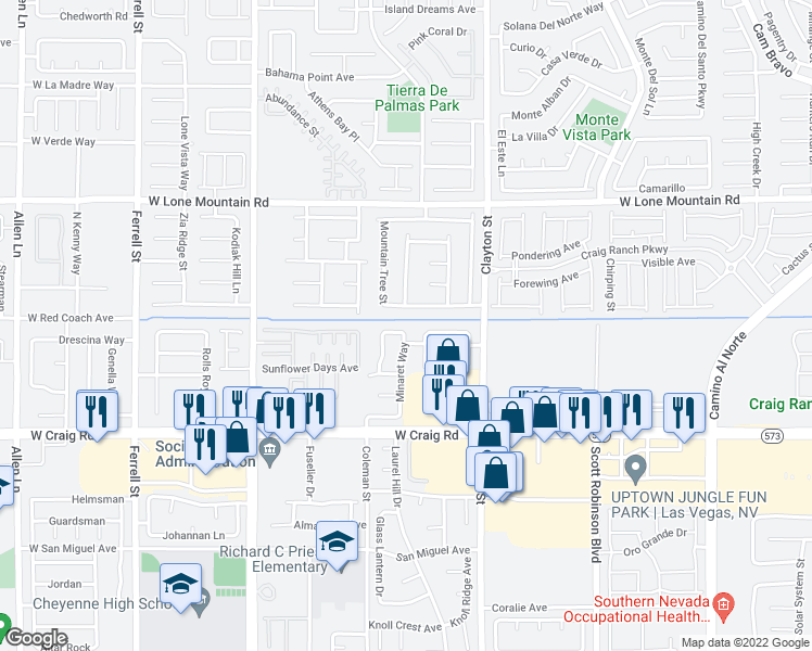 map of restaurants, bars, coffee shops, grocery stores, and more near 2308 High Uintas Drive in North Las Vegas