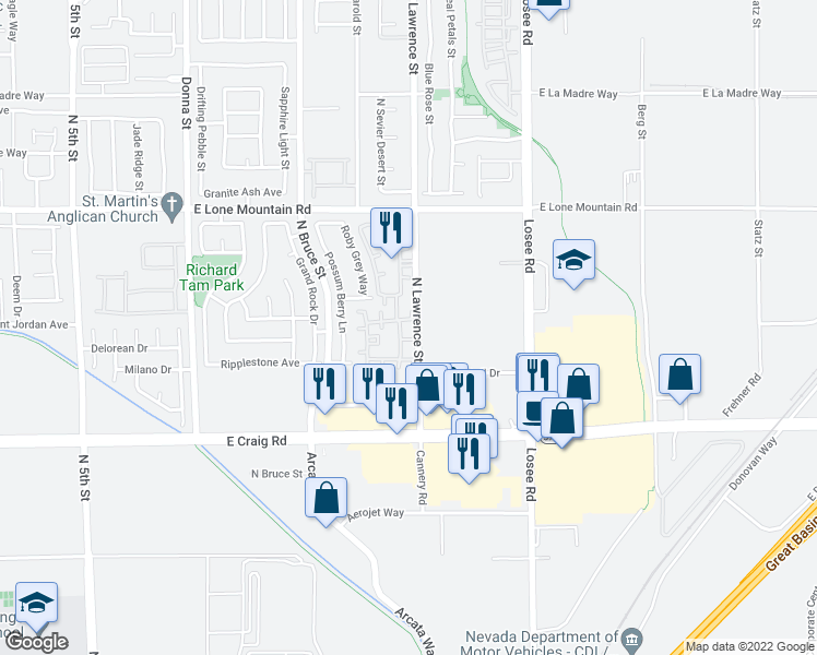 map of restaurants, bars, coffee shops, grocery stores, and more near 4429 Lawrence St in North Las Vegas