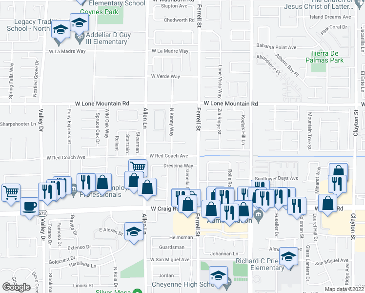 map of restaurants, bars, coffee shops, grocery stores, and more near 3427 Wedo Way in North Las Vegas
