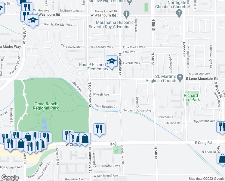 map of restaurants, bars, coffee shops, grocery stores, and more near 4713 Cedar Ranch Court in North Las Vegas