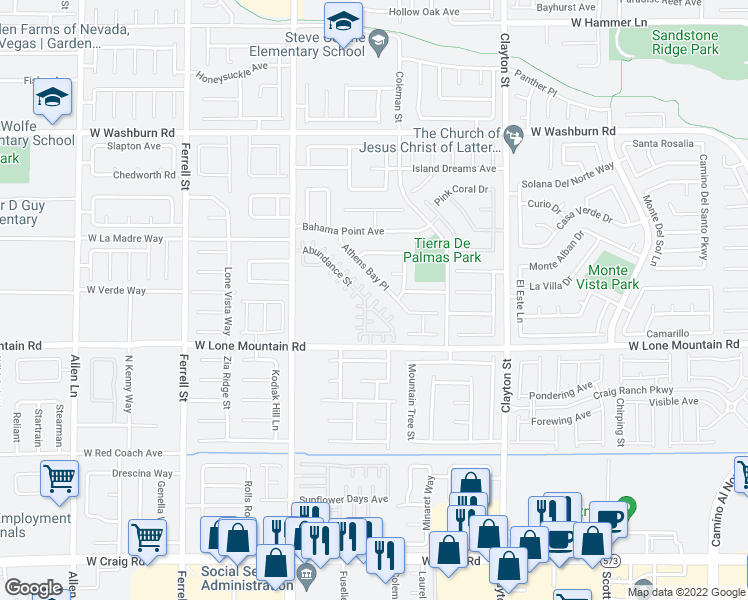 map of restaurants, bars, coffee shops, grocery stores, and more near 2504 Ability Court in North Las Vegas