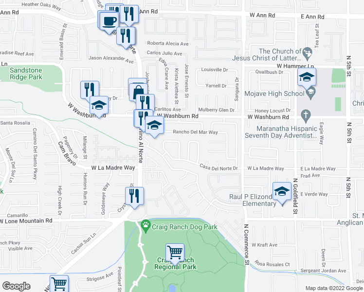 map of restaurants, bars, coffee shops, grocery stores, and more near 5038 Vista Del Rio Way in North Las Vegas