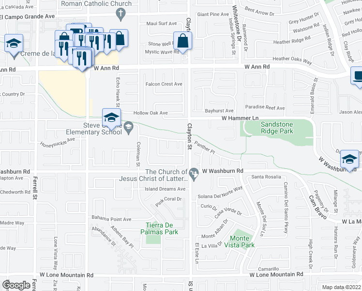 map of restaurants, bars, coffee shops, grocery stores, and more near 5238 Eagle Brook Court in North Las Vegas