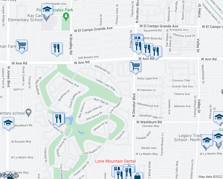 map of restaurants, bars, coffee shops, grocery stores, and more near 4941 Cedar Lawn Way in Las Vegas