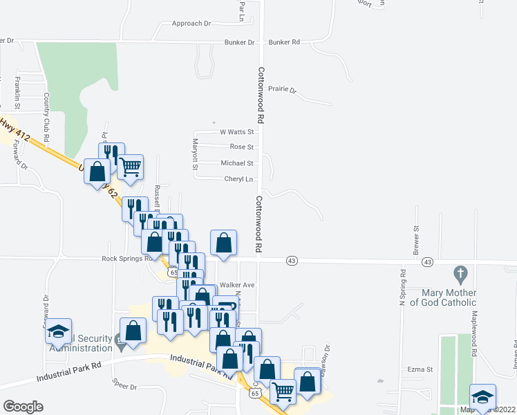 map of restaurants, bars, coffee shops, grocery stores, and more near 700 Cottonwood Road in Harrison