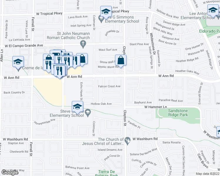 map of restaurants, bars, coffee shops, grocery stores, and more near 2115 Falcon Crest Avenue in North Las Vegas