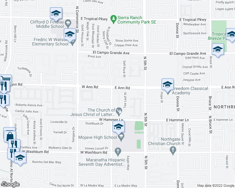 map of restaurants, bars, coffee shops, grocery stores, and more near 5529 Hidden Rainbow Street in North Las Vegas