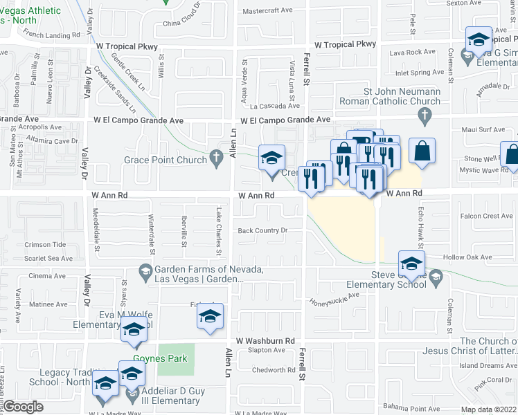 map of restaurants, bars, coffee shops, grocery stores, and more near 5526 Megan Faye Street in North Las Vegas
