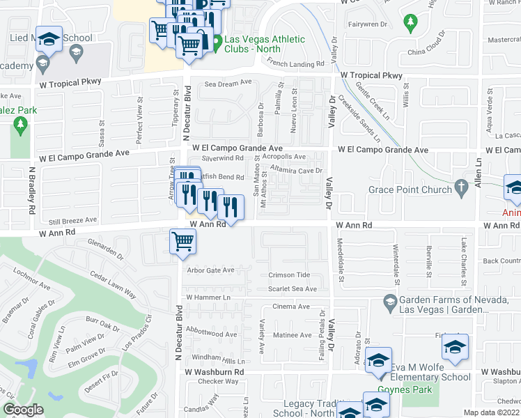 map of restaurants, bars, coffee shops, grocery stores, and more near 5621 Mount Athos Street in North Las Vegas