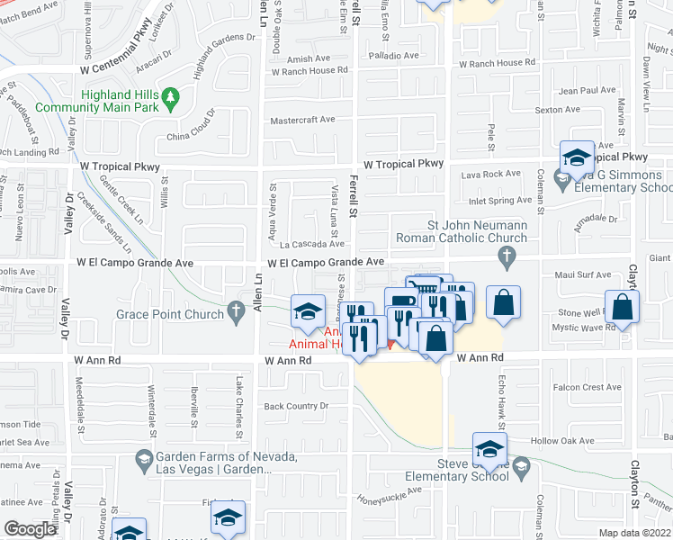 map of restaurants, bars, coffee shops, grocery stores, and more near 3368 Osiana Avenue in North Las Vegas