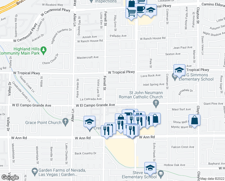 map of restaurants, bars, coffee shops, grocery stores, and more near 3111 Anchorman Way in North Las Vegas