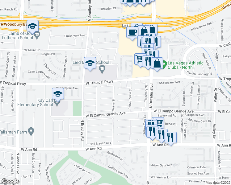 map of restaurants, bars, coffee shops, grocery stores, and more near 5916 Sassa Street in Las Vegas
