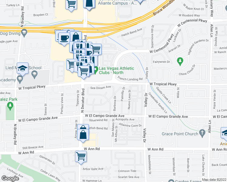 map of restaurants, bars, coffee shops, grocery stores, and more near 5955 Nuevo Leon Street in North Las Vegas