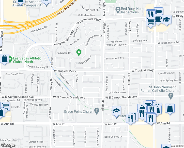 map of restaurants, bars, coffee shops, grocery stores, and more near 3810 Shimmering Creek Avenue in North Las Vegas