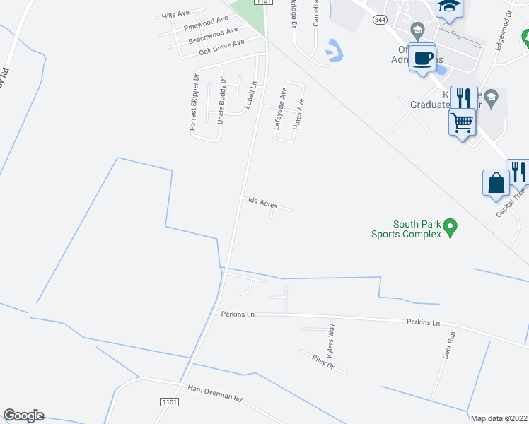 map of restaurants, bars, coffee shops, grocery stores, and more near 102 Ida Acres in Elizabeth City