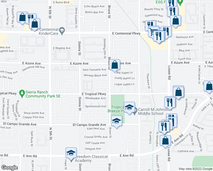 map of restaurants, bars, coffee shops, grocery stores, and more near 1220 Copper Tree Avenue in North Las Vegas
