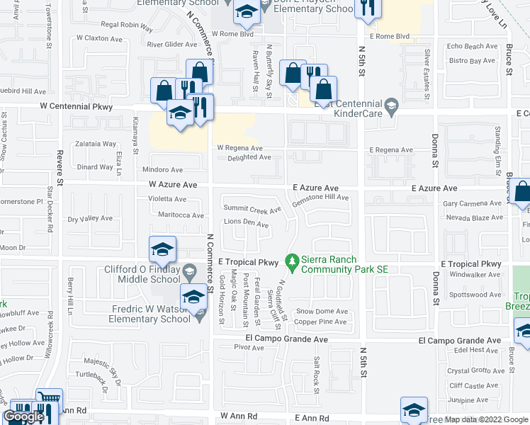 map of restaurants, bars, coffee shops, grocery stores, and more near 21 Summit Creek Avenue in North Las Vegas