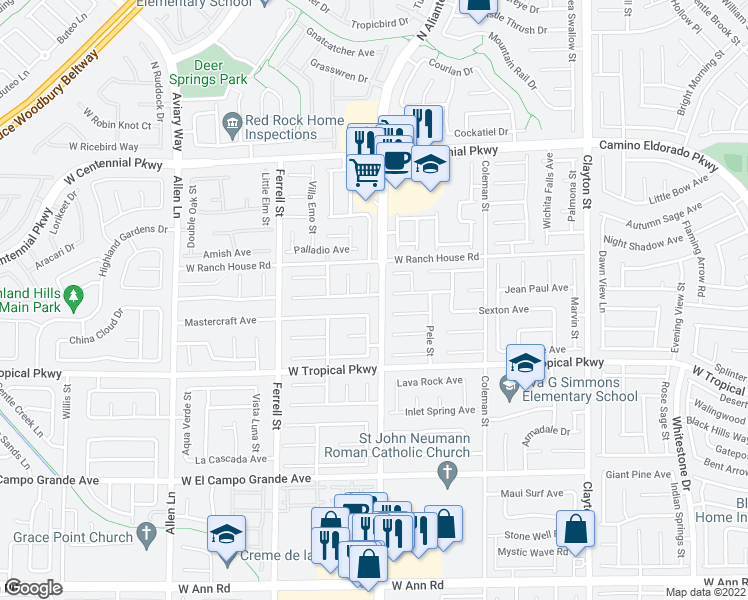 map of restaurants, bars, coffee shops, grocery stores, and more near 2907 Extravagant Avenue in North Las Vegas