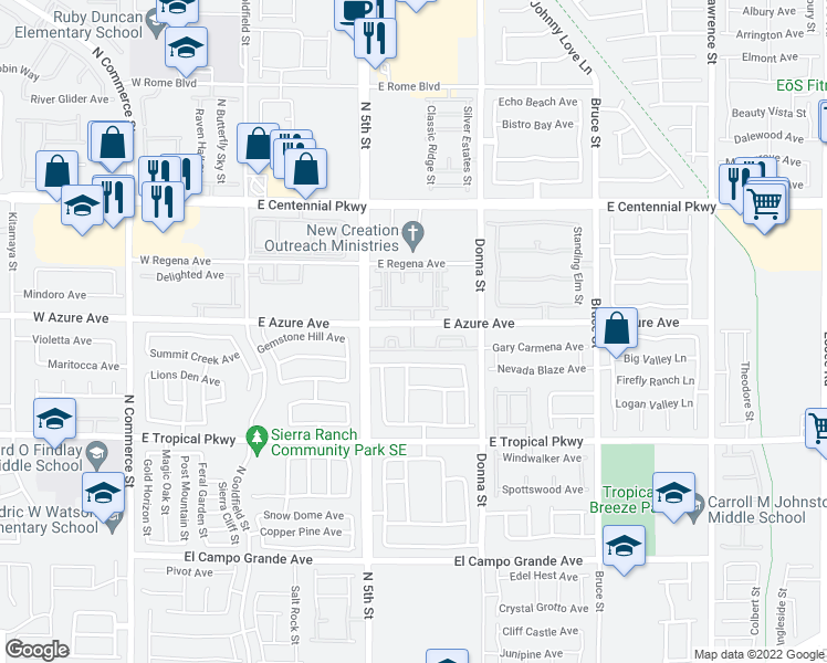 map of restaurants, bars, coffee shops, grocery stores, and more near 675 East Azure Avenue in North Las Vegas