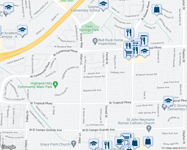 map of restaurants, bars, coffee shops, grocery stores, and more near 3505 Amish Avenue in North Las Vegas