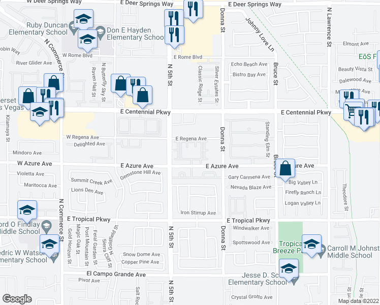 map of restaurants, bars, coffee shops, grocery stores, and more near 650 East Azure Avenue in North Las Vegas
