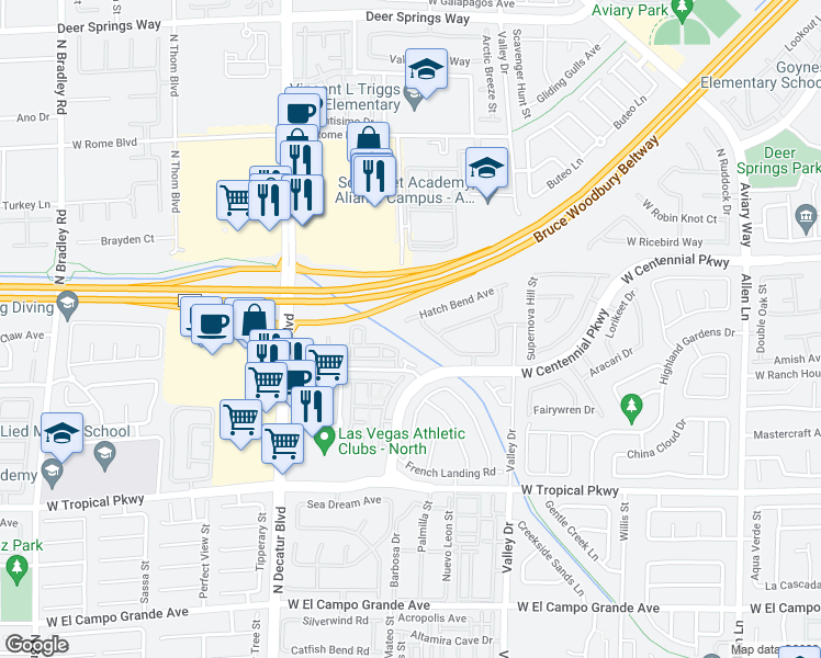 map of restaurants, bars, coffee shops, grocery stores, and more near 4457 Hatch Bend Avenue in North Las Vegas