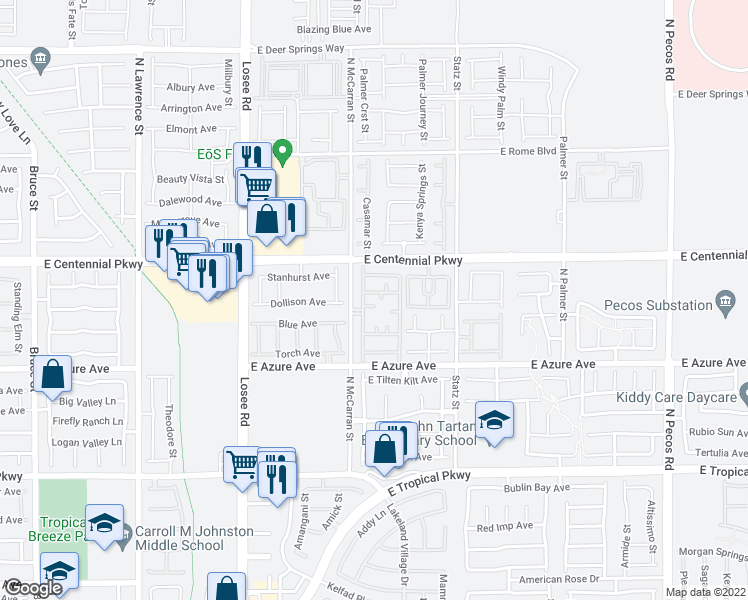 map of restaurants, bars, coffee shops, grocery stores, and more near 6300 McCarran Street in North Las Vegas