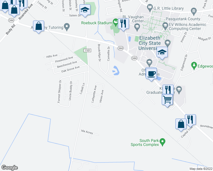 map of restaurants, bars, coffee shops, grocery stores, and more near 107 Bailey Street in Elizabeth City