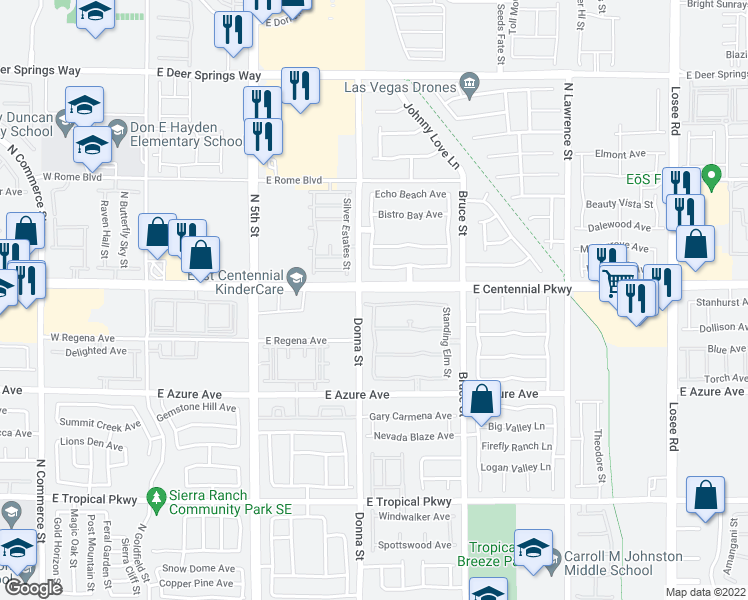 map of restaurants, bars, coffee shops, grocery stores, and more near 916 Appaloosa Hills Avenue in North Las Vegas