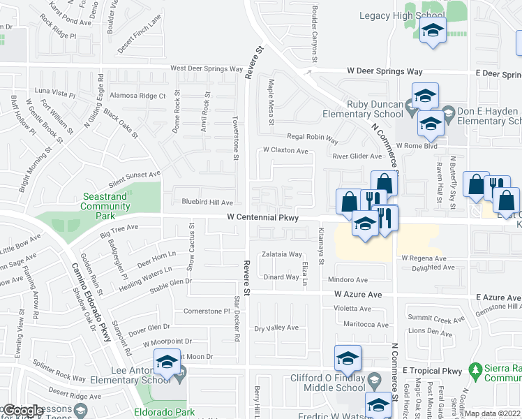 map of restaurants, bars, coffee shops, grocery stores, and more near 6408 Yucca Ridge Court in North Las Vegas