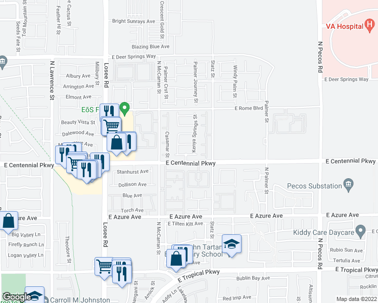 map of restaurants, bars, coffee shops, grocery stores, and more near 2840 Woodland Park Avenue in North Las Vegas