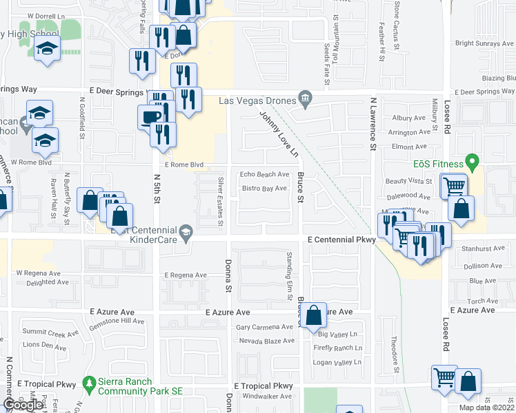 map of restaurants, bars, coffee shops, grocery stores, and more near 1020 Oceanwood Ave in North Las Vegas