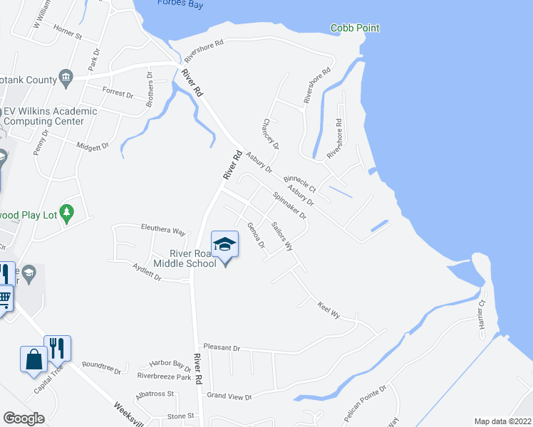 map of restaurants, bars, coffee shops, grocery stores, and more near Staysail Drive in Elizabeth City