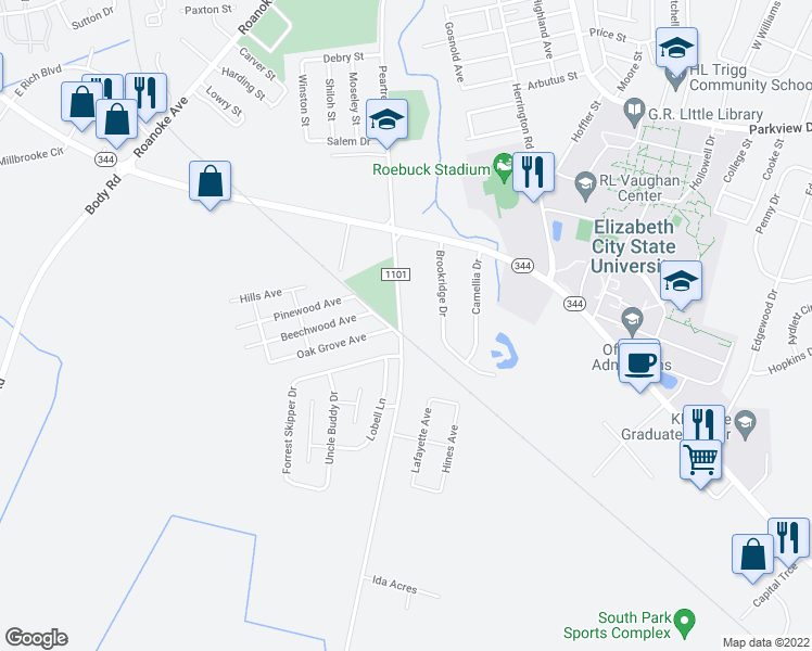 map of restaurants, bars, coffee shops, grocery stores, and more near 1634 Peartree Road in Elizabeth City