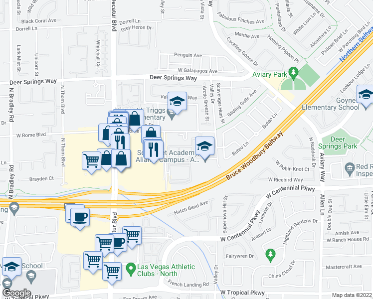 map of restaurants, bars, coffee shops, grocery stores, and more near 4325 West Rome Boulevard in North Las Vegas