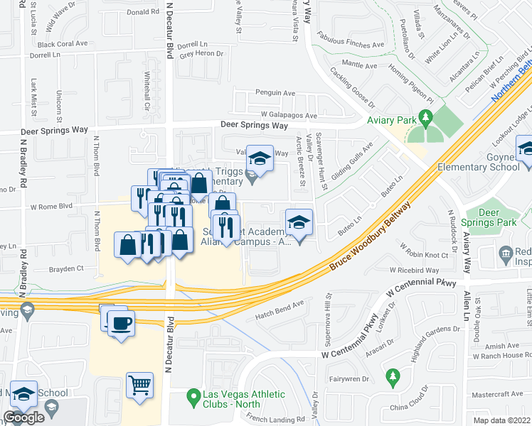 map of restaurants, bars, coffee shops, grocery stores, and more near 4425 West Rome Boulevard in North Las Vegas