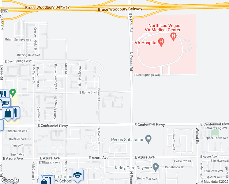 map of restaurants, bars, coffee shops, grocery stores, and more near 3305 East Rome Boulevard in North Las Vegas