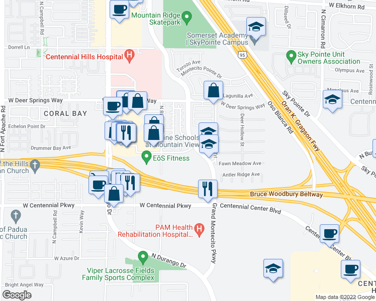 map of restaurants, bars, coffee shops, grocery stores, and more near 4425 West Rome Boulevard in Las Vegas