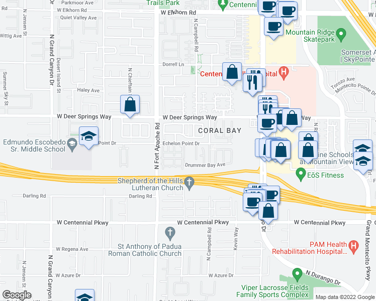 map of restaurants, bars, coffee shops, grocery stores, and more near 9051 Echelon Point Drive in Las Vegas