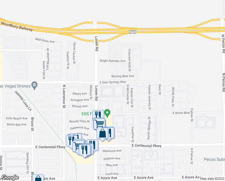 map of restaurants, bars, coffee shops, grocery stores, and more near 2655 East Deer Springs Way in North Las Vegas